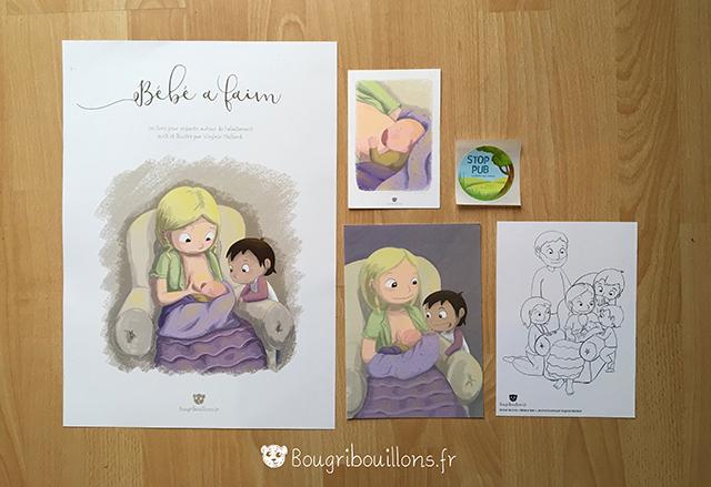 """Goodies """"Bébé a faim"""" affiche, art-print, stop-pub, carte à colorier Virginie Maillard"""