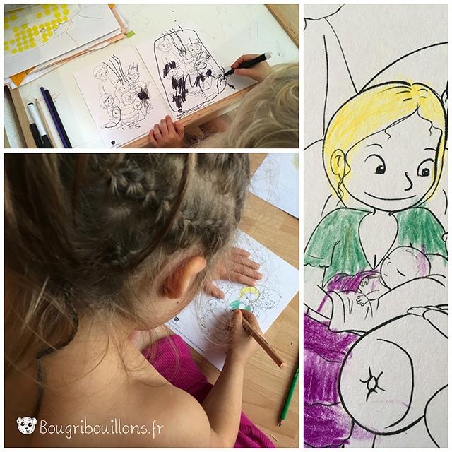"""Carte à colorier """"Bébé a faim"""" Virginie Maillard"""
