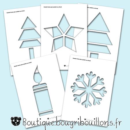 Pochoirs pour décoration vitres thème hivers - Bougribouillons