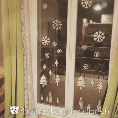 Décoration vitres blanc de meudon thème hivers - Bougribouillons
