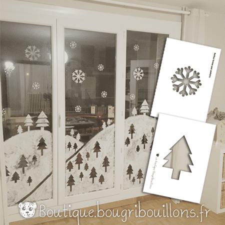 Pochoirs pour décoration vitres blanc de meudon thème hivers - Bougribouillons
