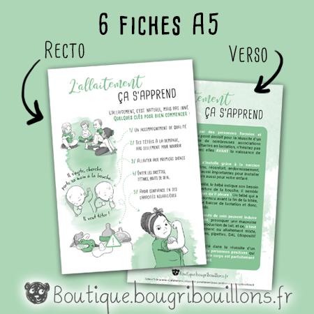 Exemple de fiche A5 recto verso sur l'allaitement - Bougribouillons