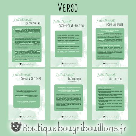 Les fiches A5 verso sur l'allaitement - Bougribouillons