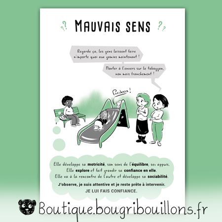 affiches petite enfance Bougribouillons - Mauvais sens, monter le toboggan à l'envers