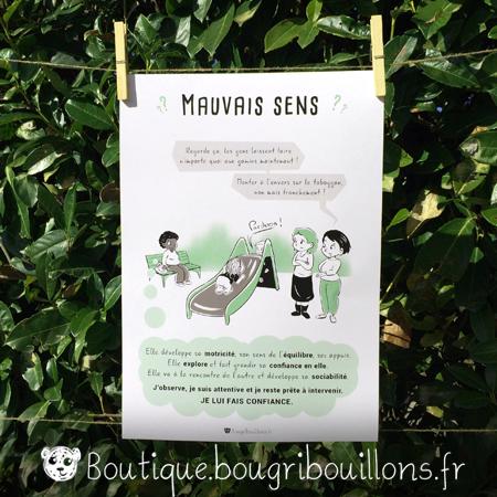 affiches petite enfance imprimée Bougribouillons - Mauvais sens, monter le toboggan à l'envers