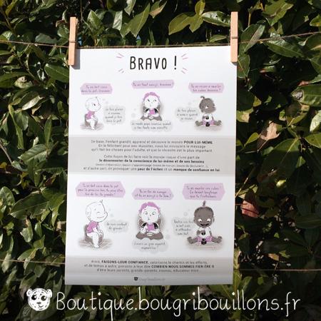 affiches petite enfance imprimée Bougribouillons - Bravo, compliments descriptifs et évaluatifs
