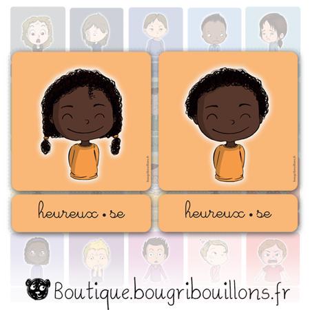 Cartes des émotions V2 - cursive - Bougribouillons